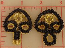 "Black with Gold Beaded Bullion Frog Applique Closure Toggle Clasp 1-5/8"" India"