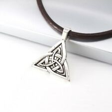 Silver Alloy Trinity Celtic Knot Pendant Womens Mens Dark Brown Leather Necklace
