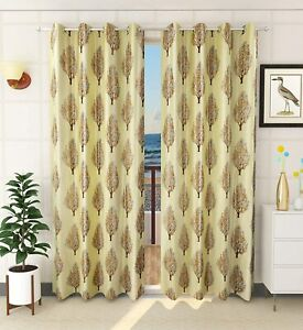 Digital Tree Printed Polyester Curtains For Window 5 Fee A Pack Of 2 Lime Color