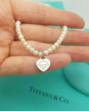 """Return to Tiffany & Co. Silver Mini Heart Tag Ziegfeld 4mm Pearl 7"""" Bracelet"""