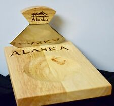 New! Alaska ULU Knife w/ Chopping Bowl/Board with Etched Alaska Mountain