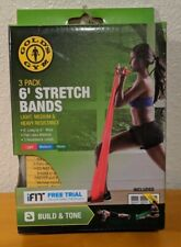 Gold's Gym 6' Stretch Bands 2 pk Light Medium Heavy Resistance Read