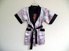 Thai Silk-Blend Child's Robe / Kimono White Red Reversible Dragon/Unisex-M (New)