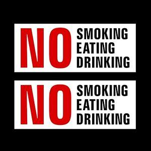 2x No Smoking, Eating Drinking Self Adhesive Sticker 150x60mm - Car, Taxi, Uber