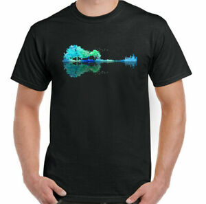 GUITAR T-SHIRT Electric Acoustic Bass Rock n Roll Band Music Reflection Lake Top