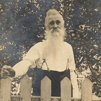 Antique RPPC Real Photograph Postcard Handsome Mature Man Long Beard Oxford OH