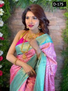 Soft Silk Sari Saree Indian Pakistani Bangladeshi Party Pink Blue Sari Saree