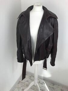 Deya Vintage Leather Biker Burgundy 80s Jacket Batwing 38 12 Women Oversized