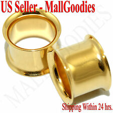 """1118 Gold Double Flare Tunnels 1/2"""" Inch Plugs 12.7mm"""