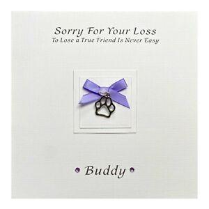 Handmade PERSONALISED Pet Bereavement Card Pet Sympathy Condolence - Paw Charm
