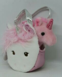 NEW Aurora Fancy Pals Pink Unicorn in A White Unicorn Bag Soft Plush Toy