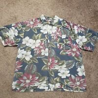 Men's Large Tommy Bahama Shirt Short Sleeve Vacation Floral Button Down Hawaiian