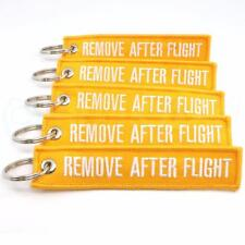REMOVE AFTER FLIGHT KEYCHAIN QTY= 5 PCS YELLOW/white TAGS FLAGS PILOT CREW
