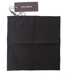 NEW DOLCE & GABBANA Handkerchief Black Silk Pochette Square Pocket 25cm x 25cm