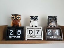Owl wooden calender, hand made and painted 15 x 8 cmm