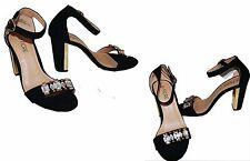 """Ladies Black Crystal Embellished Suede & Gold Block Heels UK 5/ EU38 4"""" Heel"""
