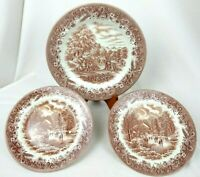 Churchill England Currier Ives HARVEST BROWN Transferware 1 Dinner 2 Salad Plate