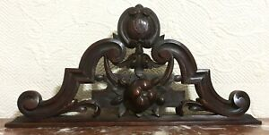 Fruit scroll leaves wood carving pediment Antique french architectural salvage