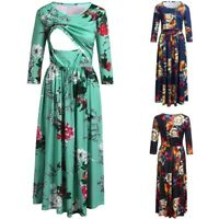 Women Pregnancy Maternity Nursing Party Tunic Runched Floral Long Dress Clothes