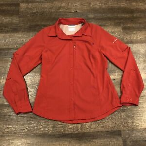 Womens Columbia Omni-Shade Sun Protection Button Up Jacket Shirt Coral