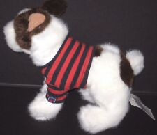 Childrens Place White Brown Dog Bull Terrier Red Blue Stripe Shirt Plush Toy NEW