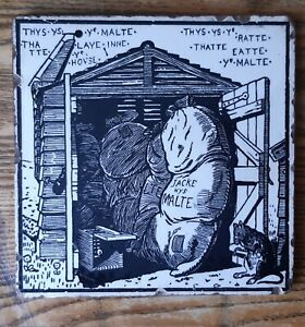 Rare Minton tile of The Malt and the Rat about 1890