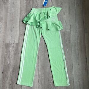 NEW Adidas J KOO Velour Trefoil Track Pants FT9895 Green Women Size XS
