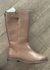 NWT Gap Kids Girls Brown Boots Size 1 Faux Leather Tall Riding Boots