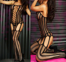 BLACK Sexy Crotchless FishNet Body stocking Bodysuit Lingerie Nightwear 1210B