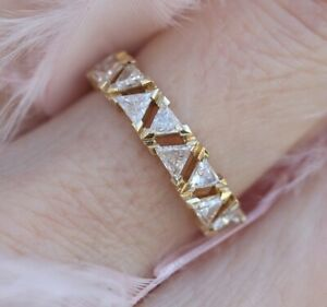 Eternity Engagement & Wedding Expensive Ring 14K Yellow Gold Plated 3 Ct Diamond