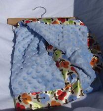 LITTLE BEGINNINGS BABY BLUE BLANKET MINKY BUMP DOT SATIN EDGE TRIM FLOWER NEW