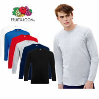 3 Pack Mens Fruit of the Loom Long Sleeve Value Cotton T Shirt 6 Colours S - 2XL