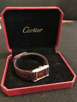 Vintage Cartier Paris Ladies Red Wine Dial Sterling Wrist Watch with Case