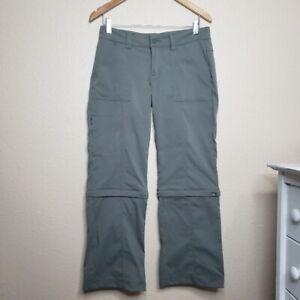 Women Prana Halle Convertible Zip Off Regular Grey Pants Size 6