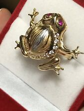 Good Luck 14k SOLID REAL GOLD Frog ring lucky manmade diamond Ruby 7 5 6 8 9