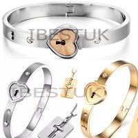 Couple Stainless Steel Love Heart Lock Bracelet Bangle Key Pendant Necklace Set