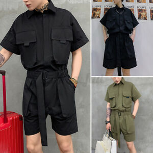 Mens Jumpsuit Loose Fit Lapel Short Sleeve Single-Breasted Short Pants Playsuits