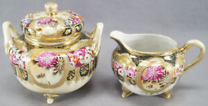 Nippon Hand Painted Roses Flowers Forest Green & Gold Beaded Creamer & Sugar