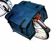 BLUE DOUBLE BICYCLE PANNIER BAG REAR BIKE RACK CARRIER WATER RESISTANT NYLON