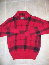 Vtg RALPH LAUREN POLO COUNTRY AUTHENTIC DRY GOODS Wool SWEATER Red Black PLAID L