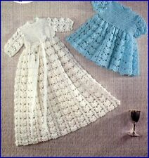 Vintage Baby Crochet PATTERN Copy Long & Short Christening Dress in  3 Ply