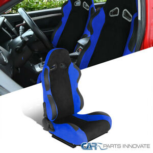Black/Blue Suede Stitch PVC Leather Reclinable Passenger Side Racing Seat+Slider