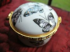 Lovely Butterfly Decorated Vintage Retro Chic Ceramic Storage Box Pot With Lid