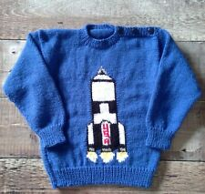 New Hand Knitted Space Rocket Sweater  100% Acrylic 3-4 years