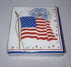 HOFFMASTER PATRIOTIC CELEBRATION JULY 4TH FIREWORKS AMERICAN FLAG NAPKINS 50 NOS