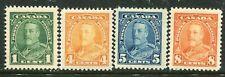 CANADA....  1935 KGV  1c, 4c, 5c, 8c mint
