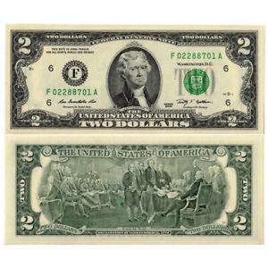 """2009 * Banconota Stati Uniti 2 Dollari """"F6 - Atlanta"""" (pNew) UNC"""
