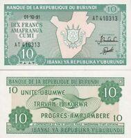 Burundi billete nuevo de 10 francos pick 33 UNC