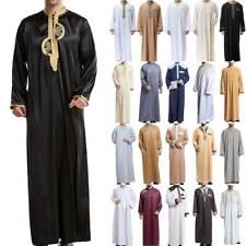 Men Muslim Abaya Long Sleeve Saudi Arab Thobe Jubba Kaftan Dress Islamic Robe UK
