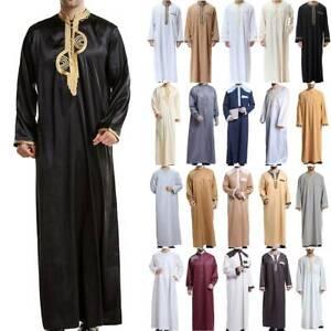 Muslim Abaya Men Long Sleeve Saudi Arab Thobe Jubba Kaftan Dress Islamic Robe US